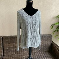 Womens Fashion on Earth Silver Gray Wrap Cableknit Sweater SEXY NEW NWT Small