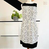 MONSOON Dress Size 12 BLACK WHITE | SMART Occasion WEDDING Cruise RACES MONOCHRO