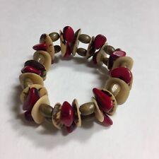 Tagua Nut & Rosewood Stretch Bracelet Handmade In Costa Rica *Beautiful*