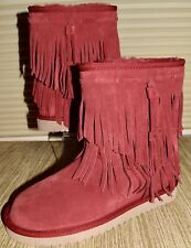 New-Womens-KOOLABURRA-by-UGG-CABLE-FRINGE-WINTER-BOOTS-SIZE 7 RED BRICK