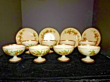 "New Listing12-pc set Rare Antique Limoges Florida Oranges Sherbet footed Cups 7 3/8"" Plates"