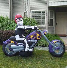Gemmy Airblown Halloween Inflatable Skeleton Biker On Motorcycle Yard Ornament