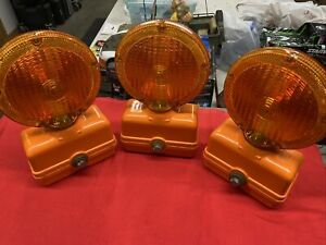 Lot of 3 Vintage Amber Construction & Safety Barricade Warning Light