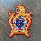 VTG Patch Demolay Knight Crown Swords Members Emblem Crescent Moon Red Yellow