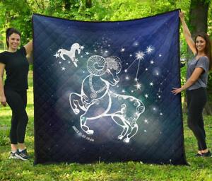 Aries Horoscope Premium Quilt Blanket Twin Queen King Size Birthday Gift