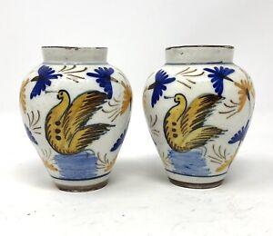 Antique Iznik Type Pottery Pair Of Faience Tin Glazed Majolica Vases - Birds
