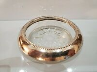 Vintage B-I Sterling Silver, Beaded Rim Glass Coaster, Ashtray Starburst 1786.11