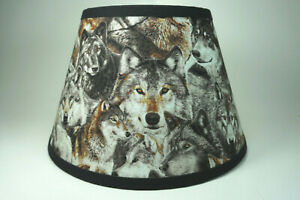 Wolf Wolves Pack Packed Grey Gray Fabric Lampshade Lamp Shade