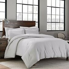 Garment Washed Solid Full/Queen Comforter Set in Silver