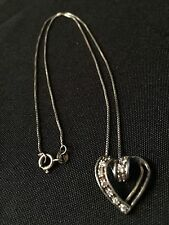 """Vintage Sterling Silver 925 Clear CZ Cubic Zirconia Heart Pendant Necklace 17"""""""