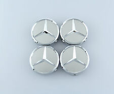 4 PCS SET Mercedes Benz Wheel Center Caps Emblem Silver Star Hubcaps 75MM