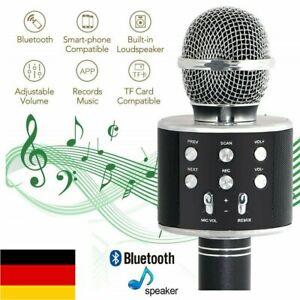 neu Bluetooth Karaoke Mikrofon Lautsprecher Handheld Mic KTV Microphone Schwarz