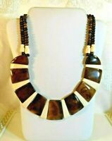 VINTAGE TRIBAL 2 Strand ~ FLAT BEADS ~ NECKLACE NECKLACE ~ OLD WIRED HOOK CLASP