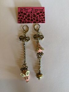 Betsey Johnson Alloy rhinestone Pink Enamel  MOUSE animal Drop earring-BJ60151