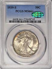 1939-S 50c PCGS MS66+ CAC Gem Plus Uncirculated Walking Liberty Half Dollar Coin