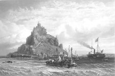Cornwall SAINT ST MICHAEL'S MOUNT ISLAND CASTLE ~ Old 1855 Art Print Engraving