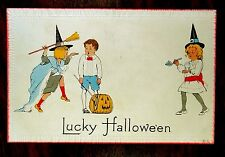 Lucky Halloween Girl Witches Boy & J-O-L Nash Halloween Series 8-A Postcard 1914