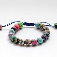 Chinese Flowers Tibet Buddhist Prayer Beads Mala Bracelet Fine Earthenware