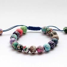 Polymer Clay With Flowers Tibet Buddhist Prayer Beads Mala Bracelet