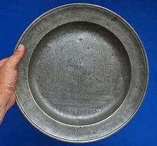 grand plat de mariage étain gravé 1774 - allemagne - autriche - belle scène