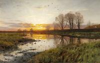Dream-art Oil painting sunrise landscape with river Wetlands flying birds canvas