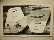 7/1955 RARE PUB SNCASO HELICOPTERE DJINN VAUTOUR CHASSEUR BOMBARDIER ORIGINAL AD