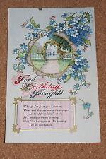 Vintage Postcard: Birthday Greeting, Country Garden Scene, Flowers, Gelatine