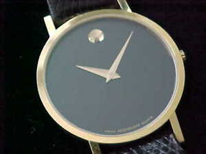 Preowned Movado Museum 30.5 MM With Signed Movado Band And Buckle Fresh Battery