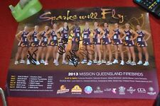 Signed 2013 Queensland Firebirds Netball Poster Laura Geitz Romelda Aiken