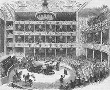 LAMBETH. Interior of Astley's amphitheatre, in 1843. London c1880 old print