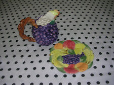 Fritz And Floyd Ceramic Hand Painted Grape Pitcher and Decorative Plate