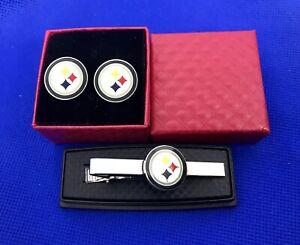 Pittsburgh Steelers Tie Bar & Cufflinks Football Team Logo US Seller (NEW)