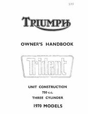Triumph Owners Manual Book 1970 Trident 750cc Triple