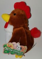 """Rocky Rooster Bean Bag Plush Bean Sprouts 7.5"""" Stuffed Animal Toy Farm Chicken"""