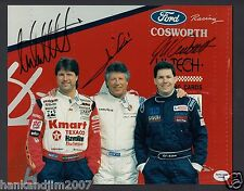Mario Andretti with Jeff & Michael 3x Autographed 8x10 Color photo