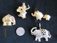 Vintage Unique Lot of 4 Elephant Costume Designer Jewelry Brooches Pins/Pendant