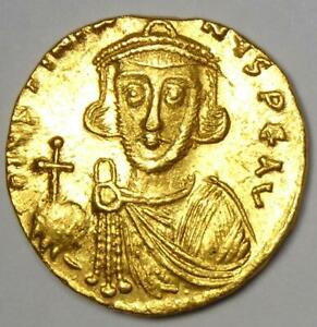 Byzantine Justinian II AV Solidus Gold Cross Coin 685-695 AD - Choice XF / AU