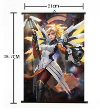 Hot Japan Anime Overwatch Mercy Home Decor Poster Wall Scroll 21*30CM
