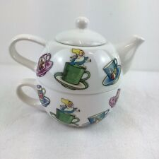More details for disney alice in wonderland tea for one teapot and cup white mug
