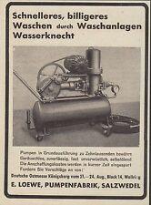 SALZWEDEL, Anzeige 1938, E. Loewe, Pumpen-Fabrik, Wasch-Anlagen Wasserknecht