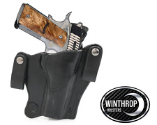1911 5 inch NO Lasergrips, NO Rail IWB Dual Snap Holster R/H Black
