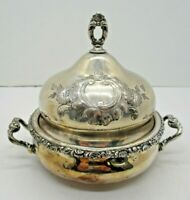 Vintage Early 1900's Homan Quadruple Plate Small Covered Dish Bowl Butter