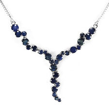 Sterling Silver 925 Genuine Natural Blue Sapphire Gemstone Necklace18 Inches