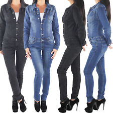 SOTALA Damen Overall Jumpsuit Skinny Röhren Stretch Hüft Jeans Hose Denim Blau