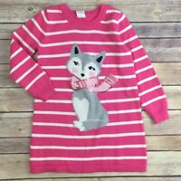 Gymboree Sweater Dress Size 4 Girls Pink FAIR ISLE FLURRY Fox Pup Knit NWT NEW