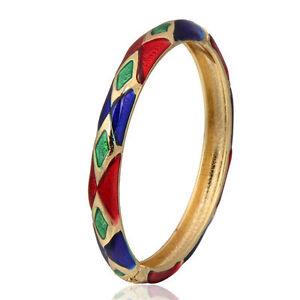 Pretty New Yellow Gold Plated Jewel Colors Diamond Design Enamel Bangle Bracelet