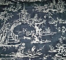 SCALAMANDRE CHINOISERIE PAGODA PALACE TOILE LINEN FABRIC 10 YARDS CHARCOAL