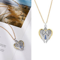 Angel Necklace Chain Chain Gold Blue Topaz Jewelry Two Tone Pendant Silver