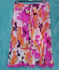 FEMME Skirt Size 18 Bold Floral Print Pink & Orange Flare Swing Lace Holiday