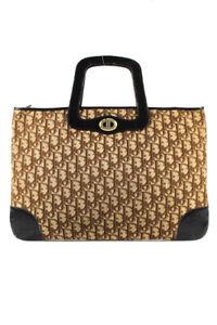 Christian Dior Vintage Monogram Canvas Leather Handle Handbag Brown Gold